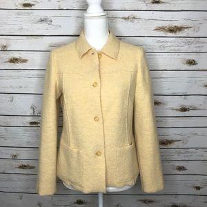 Lands' End Wool Petite Jacket Soft Yellow Size 6P